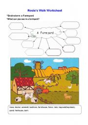 English Worksheet: Rosie�s Walk Worksheet(Brainstorming a farmyard)