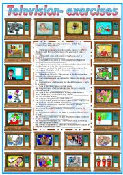 English Worksheets: TELEVISION EXERCISES - (B&W VERSION INCLUDED)