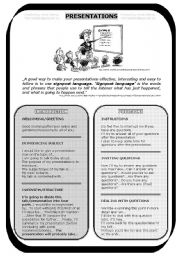 English Worksheet: PRESENTATIONS, FCE writing and speaking  (useful sentences and tips, a.k.a. signpost language)