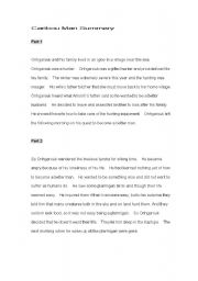 English Worksheets: Caribou Man Summary