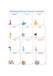 English Worksheets: Birthday Disney Princess Calendar