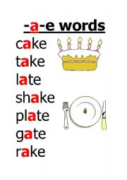 worksheet: -a-e words