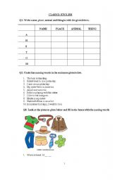English Worksheets: naming words