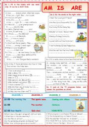 English Worksheet: AM  IS ARE