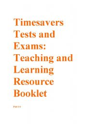 English Worksheets: Timesavers tests and exams Resource booklet part 1/3