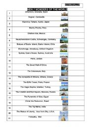English Worksheet: NEW SEVEN WONDERS OF THE WORLD (Part III)