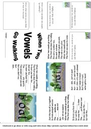 English Worksheet: Long Vowels - Two Vowels Walking minibook