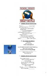 English Worksheets: Heal the World by Michael Jackson