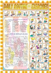 English Worksheet: Daily Routine - Exercises