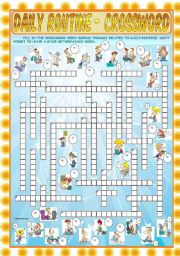 English Worksheets: Daily Routine - Crossword