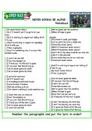 English Worksheet: Song Never gonna be alone - Nickelback