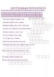English Worksheet: CRYPTOGRAM WITH SPORTS