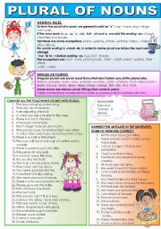 English Worksheet: PLURAL OF NOUNS. RULES AND PRACTICE.