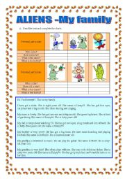 English Worksheet: Aliens-family, personal particulars