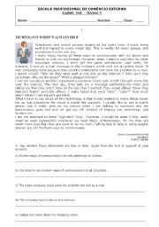 English Worksheets: test about communication