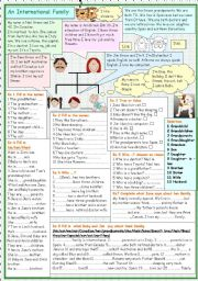 English Worksheet: An International Family