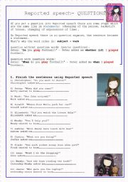 English Worksheets: REPORTED SPEECH-QUESTIONS