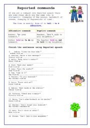 English Worksheet: Reported Speech-COMMANDS