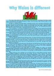 English Worksheet: Why Wales is different