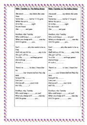 English Worksheets: Ruby Tuesday by The Rolling Stones