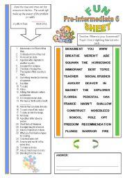 English Worksheets: Fun Sheet Pre-Intermediate 6