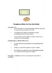 English Worksheets: Paraphrase Lesson