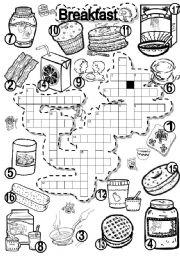 English Worksheet: BREAKFAST CRISS CROSS PUZZLE