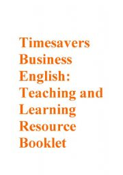 English Worksheets: Timesavers Business English Resource Booklet