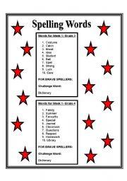 english worksheets spelling words week 1 grade 3 4. Black Bedroom Furniture Sets. Home Design Ideas