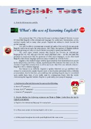 English worksheet: TEST 1 - WHAT´S THE USE OF LEARNING ENGLISH? (3 pages)