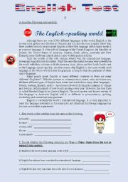 English Worksheet: TEST 2 - THE ENGLISH SPEAKING WORLD (4 pages)