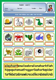 English Worksheet: WILD ANIMALS PUZZLE