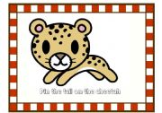English Worksheet: GREAT Directions/ Prepositions GAME!!!! Pin the Tail on the Cheetah: Full Instructions Included