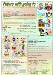 English Worksheet: Future with going to (grammar guide + lots of exercises)
