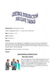English Worksheets: greetings, leave takings and introductions