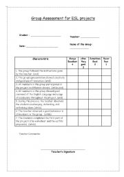 English Worksheet: Group assessment for ESL projects