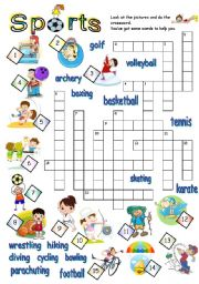 sports crossword esl worksheet by jecika. Black Bedroom Furniture Sets. Home Design Ideas