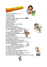 English Worksheet: Collection of tongue twisters