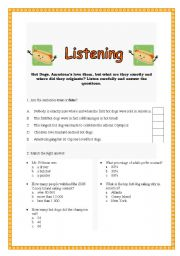 English Worksheet: Listening - HOT DOGS