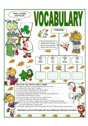 English Worksheet: RECYCLING VOCABULARY- TOPIC: TREES - FLOWERS AND PLANTS
