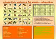 English Worksheets: ANIMALS: TRIVIA, WORDSEARCH, FIND ANIMALS AND QUESTIONS