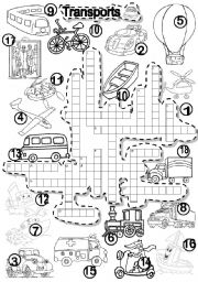 English Worksheet: TRANSPORTS CRISS CROSS PUZZLE  TRANSPORTATION