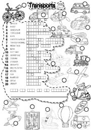 English Worksheet: TRANSPORTS PUZZLE  TRANSPORTATION