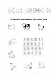 English Worksheets: Farm animals wordsearch