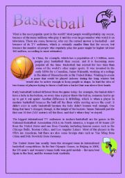 English Worksheet: Basketball - History of this famous sport