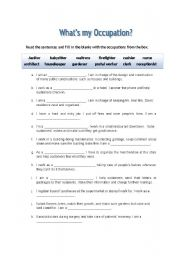 English Worksheets: What�s my occupation?