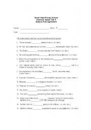 English Worksheet: Speed Test on Subject-Verb Agreement