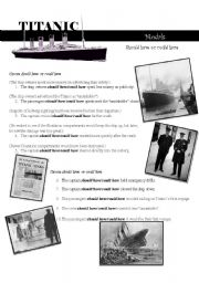 English Worksheets: TITANIC----- should have/could have modals
