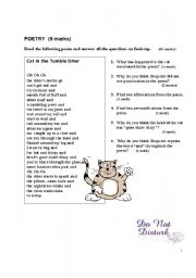 English Worksheets: Cat in the Tumble Drier