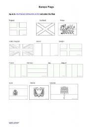 English Worksheet: Europe flags